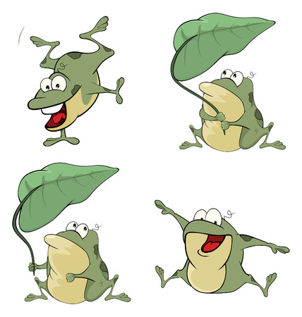 animal fauna: set of cute cartoon green frogs