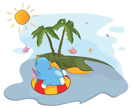 siesta: A floating hippo near an island Illustration