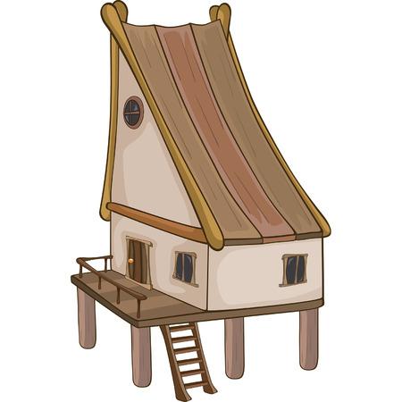 old barn: Funny Little House cartoon