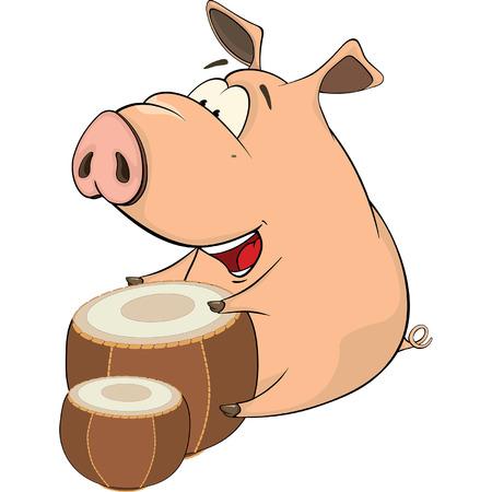 illustration of a pig-musician cartoon