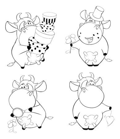 cartoon hat: Happy cows.Clip-Art. Cartoon. Coloring book