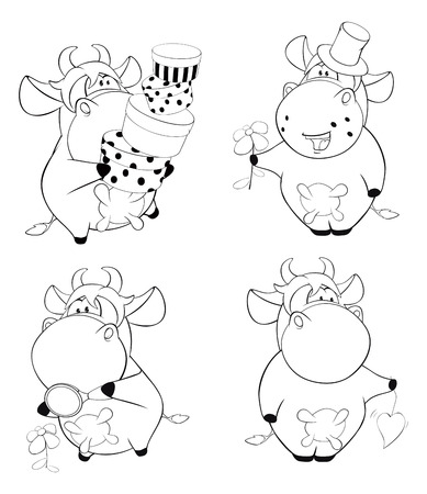 Happy cows.Clip-Art. Cartoon. Coloring book
