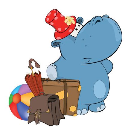 hipopotamo caricatura: Un pequeño hipopótamo. Cartoon