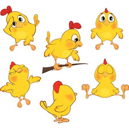 pollo caricatura: Ilustración de un conjunto de dibujos animados lindo pollos amarillos