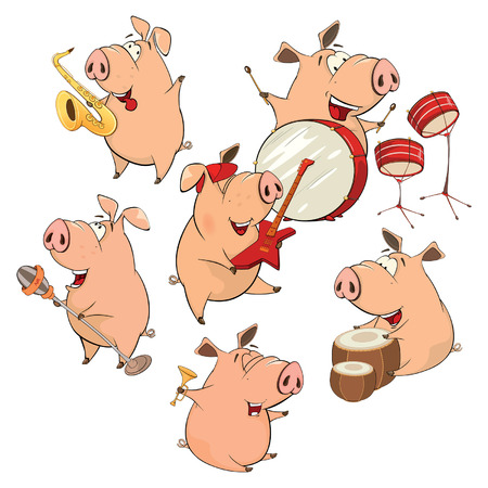 vocalist: Set of cheerful pigs. Cartoon