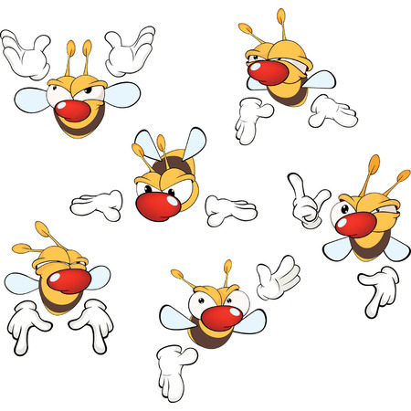 pollinate: illustration of a set of cute cartoon yellow bees