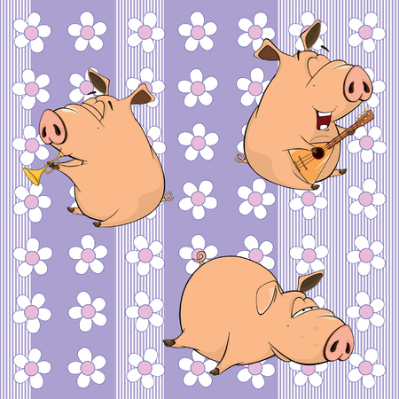 artful: A background with pigs