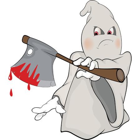 battle evil: Illustration of a cute cartoon ghost Illustration