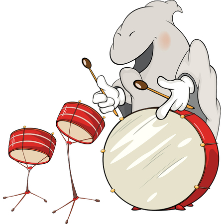 percussionist: illustration of a ghost-musician cartoon Illustration