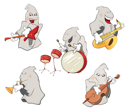 percussionist: illustration of a set of cute ghosts