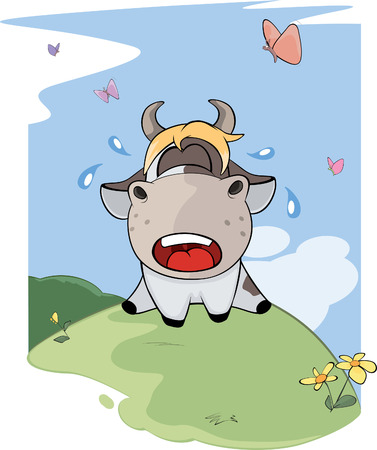 beautiful cow: I small lost cow. Cartoon