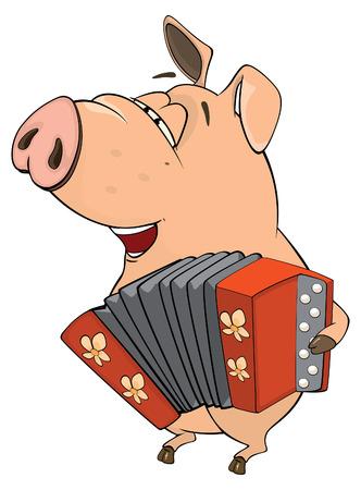baile caricatura: ilustración de una historieta del cerdo-músico Vectores