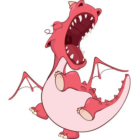 red dragon: Cute red dragon illustration. Cartoon