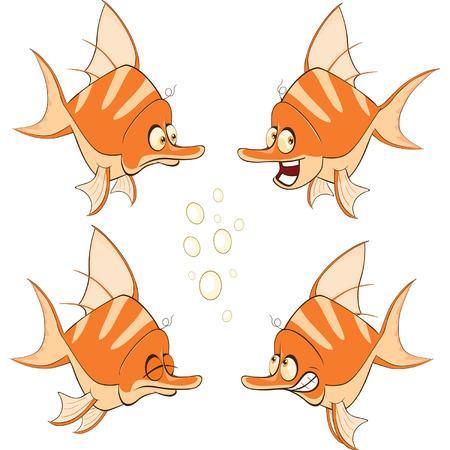 despondency: illustration of a set of cartoon cute deep-water fish