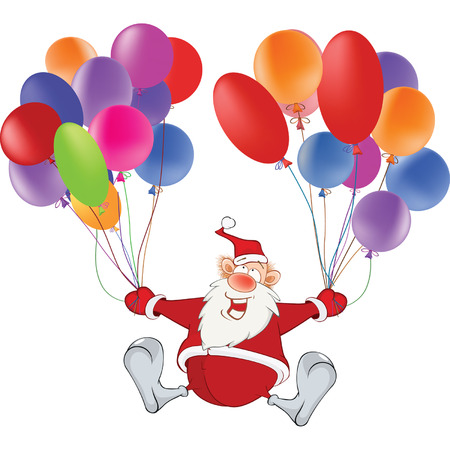 inflated: Cute Santa Claus and Toy Balloons Illustration