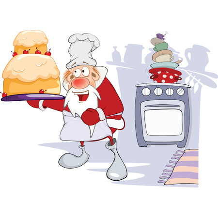 christmas cake: Illustration of Cute Santa Claus Gourmet Chef. Cartoon Character