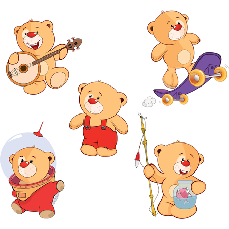 cartoon astronaut: set of bears cartoon