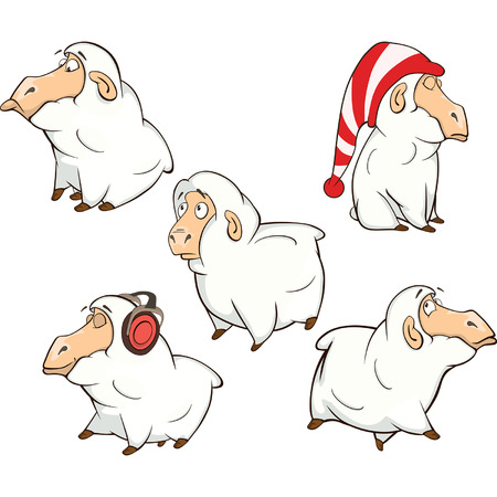 baa: set of cute cartoon sheep