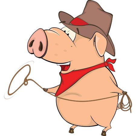herder: A cute pig farm animal cartoon