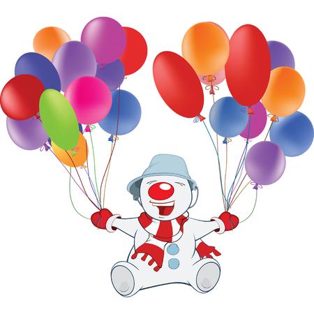 payasos caricatura: Ilustración de muñeco de nieve lindo y globos de juguete. Personaje animado