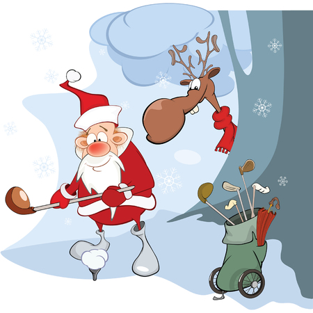 Illustration of Cute Santa Claus Golfer Illustration