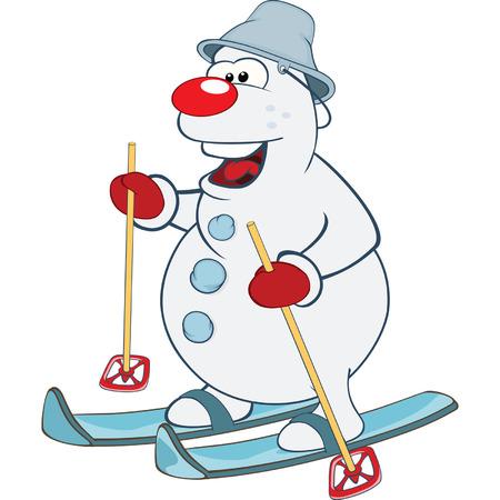 character cartoon: Cute snowball Skiing Cartoon Illustration