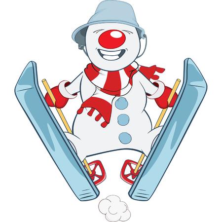 snowball: Cute snowball Skiing Cartoon Illustration