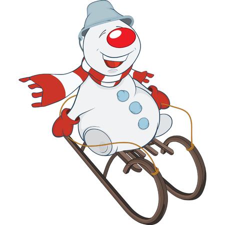 luge: Cute Snowman Cartoon Character Illustration