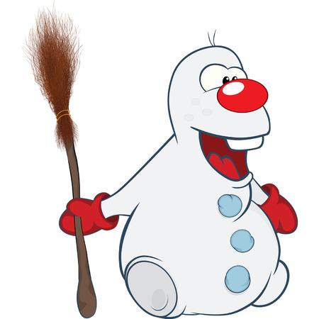 snowman cartoon: Cute Snowman Cartoon Character Illustration