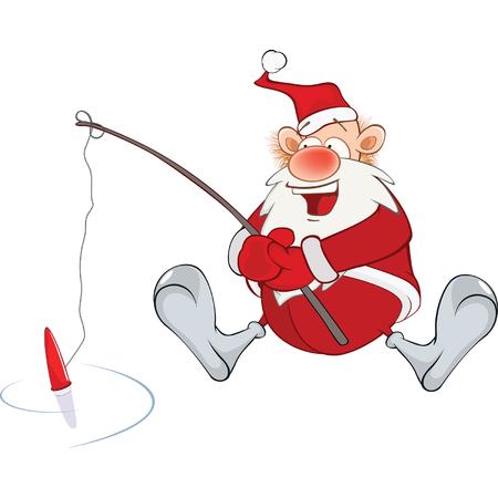 Cute Santa Claus Fisherman Vektoros illusztráció