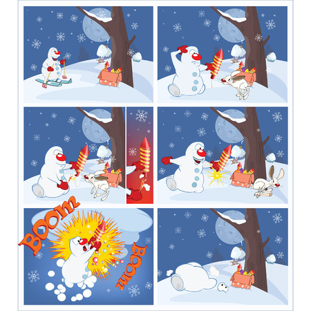 cartoon strip: accident, adventure, art, background, banner, book, caricature, cartoon, celebration, character, christmas, clown, comic, crash, cute, december, decoration, explosive, falling, fireworks, frost, fun, funny, graphic, happiness, holiday, illustration, magaz