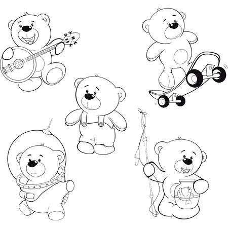 一連のクマの塗り絵