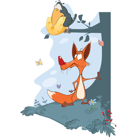 The Raven and the Fox Stock Illustratie
