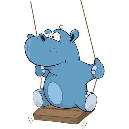 hippo cartoon: little hippo Cartoon Illustration