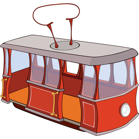 conveyances: illustration of a red tram