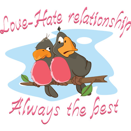 two: Two Love birds Adage Postcard Illustration