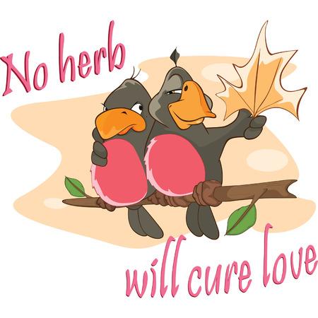 postcard: Two Love birds Adage Postcard Illustration