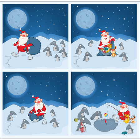 gift accident: Adventures of Santa Claus and penguins Illustration