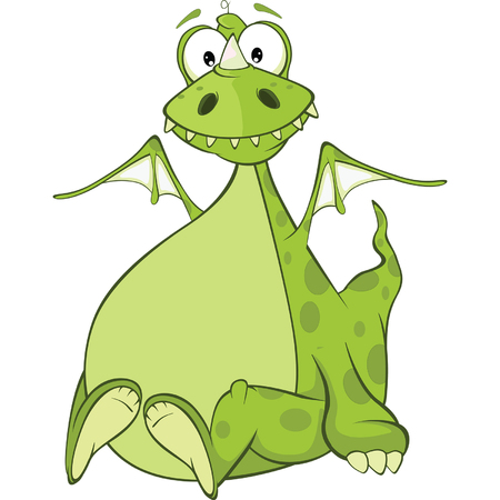 funny monster: Green Dragon Cartoon Character
