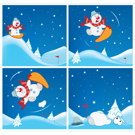 skiing accident: Adventures of Snowman Cartoons
