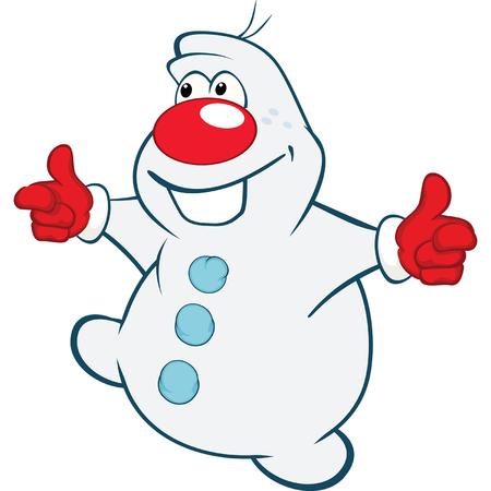 snowman cartoon: Illustration of Cute Snowman. Cartoon Character Illustration
