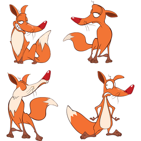 swindler: illustration of a set funny foxes. Cartoon Illustration