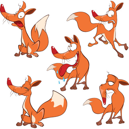 swindler: set funny foxes Cartoon Illustration