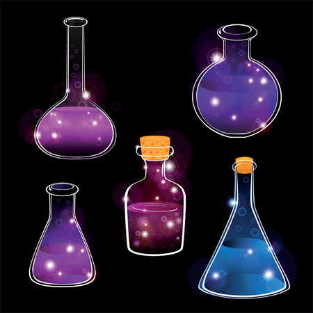 science icons: Set of laboratory flasks on a black background. Cartoon