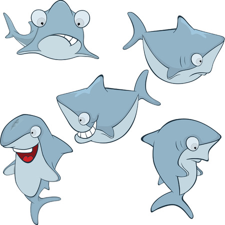 underworld: Set of cute sharks for you design Cartoon Illustration