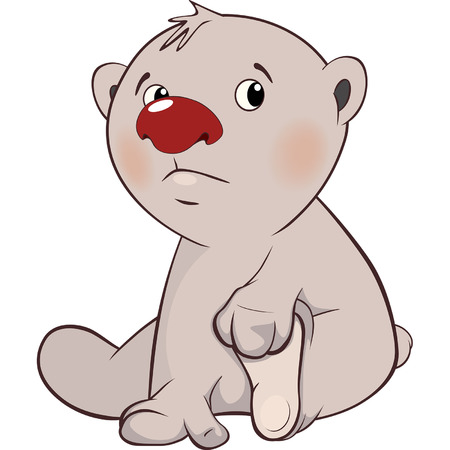 cub: A cute white polar bear cub cartoon