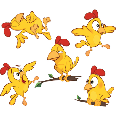 chicken wings: illustration of a set of cute cartoon yellow chickens