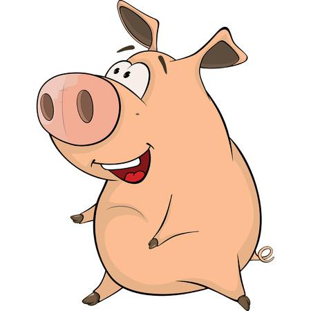 Un dibujo animado del animal del campo lindo del cerdo Ilustración de vector