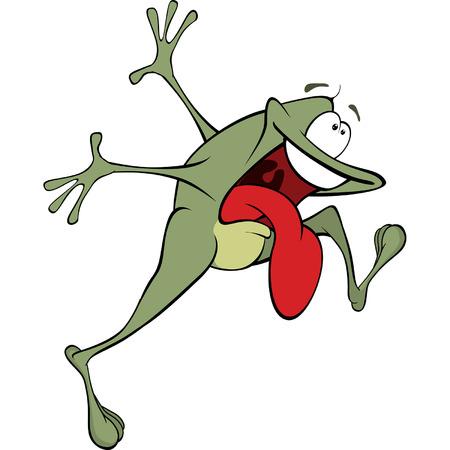 funny animals: A green frog. Cartoon Illustration