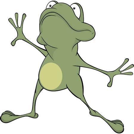 repulsive: A green frog. Cartoon Illustration